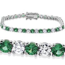 "8 Ct Emerald & Diamond Tennis Bracelet 14K White Gold Finish 7"""
