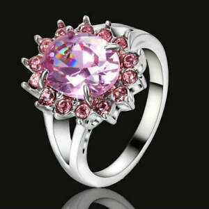 US SELLER PINK SAPPHIRE SIZE 9 FASHION FLOWER DESIGN WHITE GOLD PLATED RING