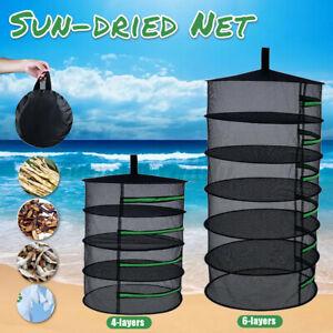 4-6 Layer Herb Drying Rack Net Sun-dried Goods Sun-fishing Clothes Zipper Basket