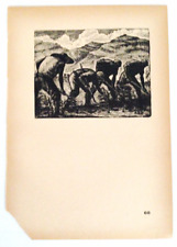 """Chinese Woodcut Print """"Cultivation"""" Woodcuts Wartime China  (1937-1945)BEST DEAL"""