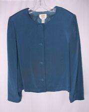 TALBOTS SOLID BLUE PURE SILK LINED ROUND NECK BUTTON FRONT BLAZER SZ 16 #L545