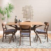 Isador Mid-Century Design Natural Walnut Finish 5 Piece Dining Set