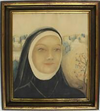 An old watercolour portrait of a young nun. Framed. Signed