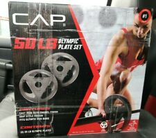 CAP 50LB Olympic Weight Plate Set (2) 25LB Plates Cast Iron 2 Inch FAST SHIPPING