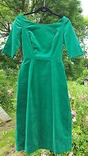 womens beautiful green velvet genuine vintage wiggle dress 1950s sz small