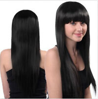 Cosplay Party Long Natural Straight Anime Wigs Full Black Hair Wig Fashion