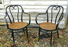 PAIR OF EARLY 20th CENTURY BENTWOOD THONET ARMCHAIRS IN ORIGINAL BLACK PAINT