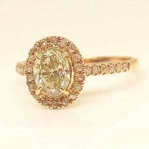 $7,899 IGI Certified 1.07ct Fancy Canary Diamond 14K Rose Gold Engagement Ring