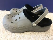 Unisex Crocs Classic Lined Roomy Fit Clogs Gray w/ Black Lining M7 W9