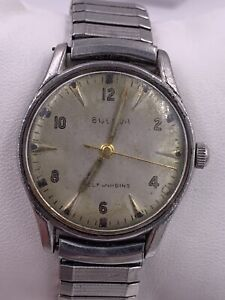 Mens Bulova Automatic 10 CSC 17 Jewels Stainless Steel 51 1033 Watch