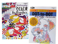 Color by Number & Difficult Dot to Dot Book Kids Adults Activity Books Set of 2