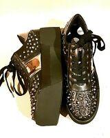 LIU JO Ladies Studded Platform Trainers Black Leather 40 UK 7 rrp £130 NWB