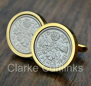 1961 Sixpence 6d Coin Cufflinks Gold Mens 60th Birthday Anniversary Present Gift