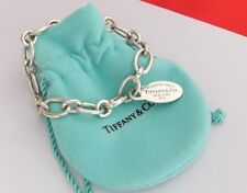 Genuine Tiffany&Co 925 Sterling Silver Oval Clasping End Link Oval Tag Bracelet