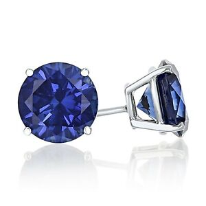 1/4 ct. Sapphire Round Basket Set Stud Earrings in Solid Sterling Silver