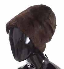 NEW $1600 DOLCE & GABBANA Hat Beanie Brown Weasel Fur Womens Cashmere s. 58 / L