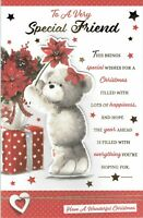 Special FRIEND ~ FABULOUS  LARGE CHRISTMAS Card With 8 PAGE INSERT Bear Design