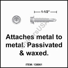 (2500) 12-14x1-1/2 Hex Washer Head 410 Stainless Self Drilling TEK Screw #138061