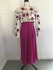 Vintage Richilene Saks Fifth Ave Sequin Fushia Floral Dress With Jacket Size 8