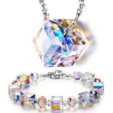 Aurora Borealis Bracelet Made with Swarovski Round Crystals 18K White Gold