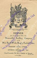 NSW Municipalità di Waratah's, l'Australia 1928 Rugby Cena Menu-Compagnia di Artiglieria Onorevoli