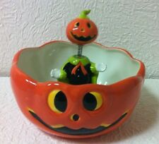 New Halloween Pumpkin Ceramic Bobblehead Candy Bowl A Must Have