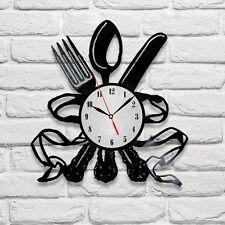 Dinning Cutlery Set design vinyl record clock home wall art shop office playroom