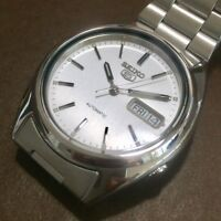 SEIKO 5 SNXF01K1 21 Jewels Automatic Army Silver Vintage Discontinued 100% New!