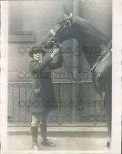 1923 1920s New York Socialite Girl in Riding Clothes With Horse Press Photo