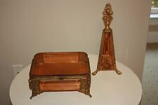Antique beveled glass gold guild perfume bottle and matching jewelry box amber