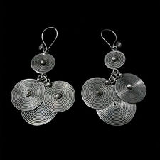 handmade miao silver earring 1pair National wind retro traditional Chinese pure