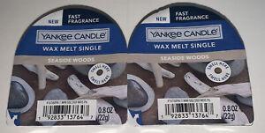 2 Yankee Candle Wax Melt Singles SEASIDE WOODS / 2 Packs / .8 Oz Each