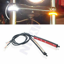2x LED Motorcycle Steering Fork Turn Signal Flowing Strip + White Driving Light