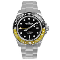 Oceaneva Men's Deep Marine Explorer GMT 1250M Pro Diver Watch Yellow and Black