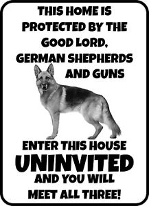 #340 GERMAN SHEPHERD ENTER UNINVITED AND MEET GOOD LORD PET DOG GATE FENCE SIGN