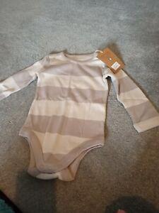 Kitekids light brown baby vest 6-12m NEW