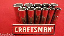 """CRAFTSMAN Socket Set 3/8"""" drive SAE 6pt DEEP 11pcs LASER ETCHED"""