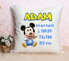 Coussin bébé spécial naissance Mickey personnalisé prénom date poids taille