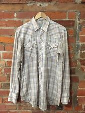 Authentic VINTAGE Western Shirt by H Bar C GRIGIO CHECK USA (w46) Taglia Large L