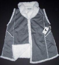 NWT PJ Salvage Gray/Ivory LUXURY Plush FURRY FLEECE-Lined Vest Jacket L Pockets