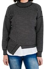 Womens Black Stripe Size Small Soft Knit Long Sleeve Sweater High Neck