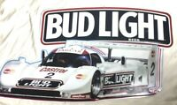 "Vintage 1991 BUDWEISER BUD LIGHT JAGUAR Race Car #2 Metal Beer Sign 33"" x 18"""