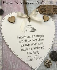 PERSONALISED SHABBY CHIC FRIEND HEART PLAQUE*ANY OCCASION*KEEPSAKE GIFT