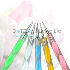 Nail Art Dotting Pen Crystal Marbleizing Tool Kit Set Manicure Painting 2-Way X5