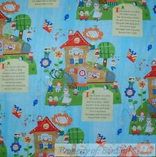 BonEful Fabric FQ Cotton Quilt Blue Baby Girl Nursery Rhyme Storytale Book Shoe