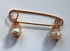 VINTAGE KILT PINS SAFETY PIN GOLD METAL PEARLS 2 inches