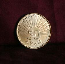 Macedonia 50 Deni 1993 Brass Unc World Coin KM1 Seagul flying Balkan Europe