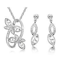 Silver & White Two Butterflies Jewellery Set Stud Earrings & Necklace S544