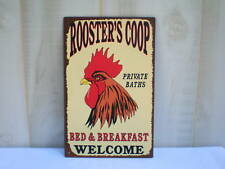 """Rustic Country Tin Metal Sign """"R00STER COOP BED & BREAKFAST"""" Vintage Farmhouse"""