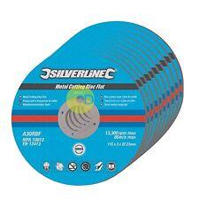 Metal Cutting Discs, Flat, Angle Grinder, 115mm X 3mm, Steel, Grinding 10Pk